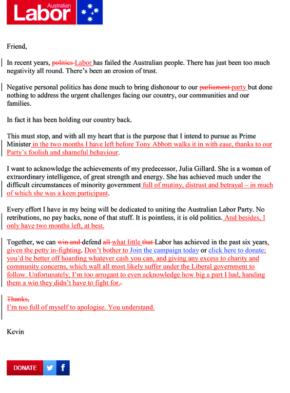 Letter from Kevin Rudd to Labor supporters